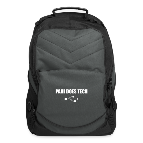 Paul Does Tech White Logo With USB - Computer Backpack