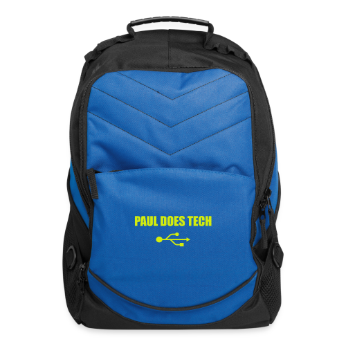 Paul Does Tech Logo Yellow With USB (BS) - Computer Backpack