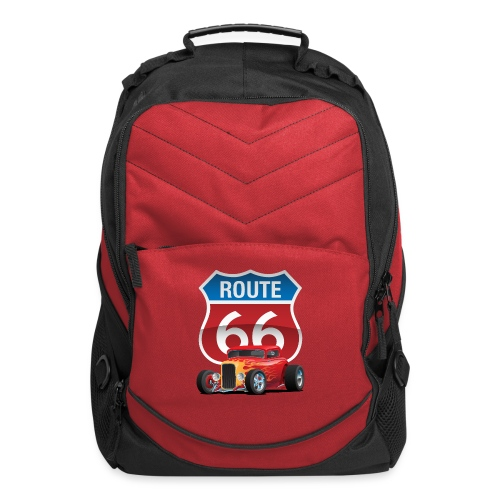 Route 66 Sign with Classic American Red Hotrod - Computer Backpack