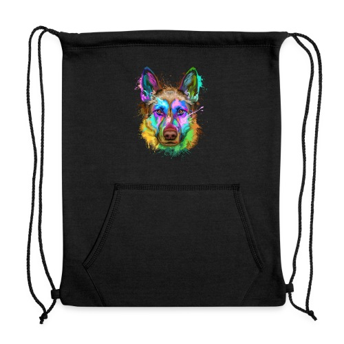 German Shepherd Splash Art - Sweatshirt Cinch Bag
