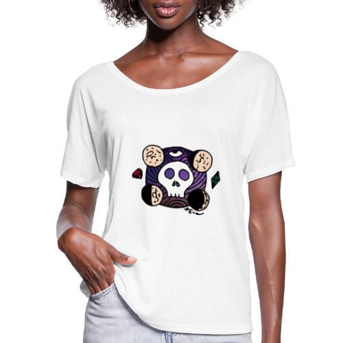 Moon Skull from Outer Space - Women's Flowy T-Shirt