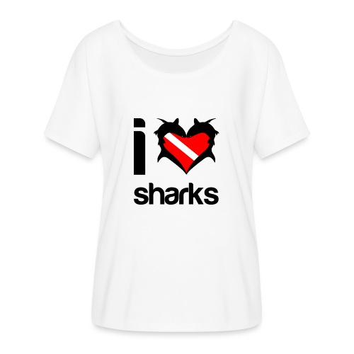 I Love Sharks - Women's Flowy T-Shirt