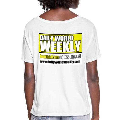 daily world weekly banner tagline web addy - Women's Flowy T-Shirt