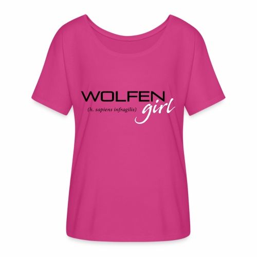 Wolfen Girl on Pink - Women's Flowy T-Shirt