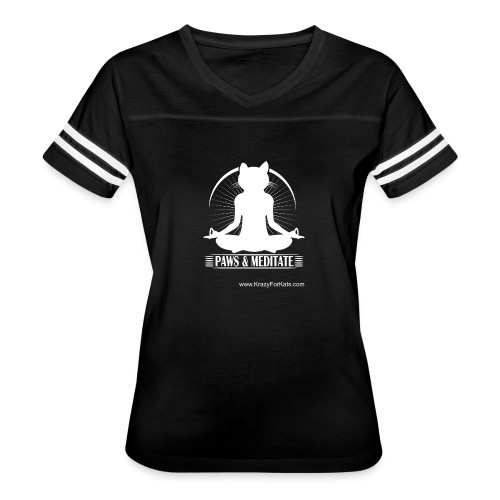 Paws and Meditate, White, Krazy For Kats - Women's Vintage Sport T-Shirt