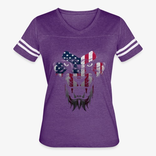 American Flag Lion Shirt - Women's Vintage Sport T-Shirt