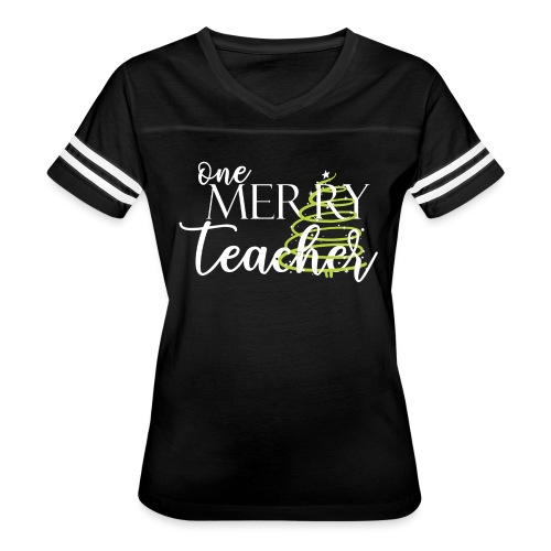 One Merry Teacher Christmas Tree Teacher T-Shirt - Women's Vintage Sport T-Shirt