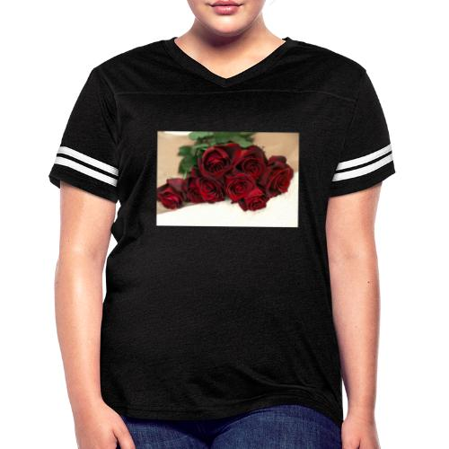 red rose bouquet on table - Women's Vintage Sports T-Shirt