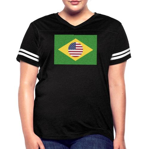 Brazil and USA Flag - Women's Vintage Sport T-Shirt
