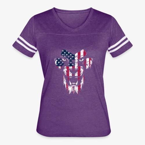 American Flag Lion - Women's Vintage Sport T-Shirt
