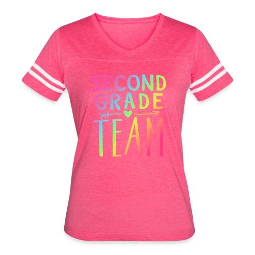Second Grade Team Neon Rainbow Teacher T-Shirts - Women's Vintage Sport T-Shirt