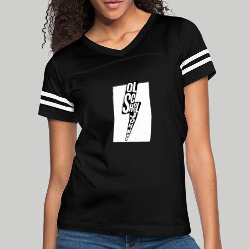 Ol' School Johnny Black and White Lightning Bolt - Women's Vintage Sport T-Shirt