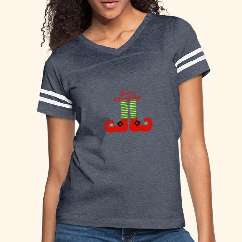 Elf Feet Merry Christmas Design - Women's Vintage Sport T-Shirt