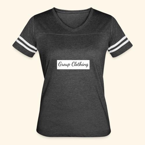 Cursive Black and White Hoodie - Women's Vintage Sport T-Shirt