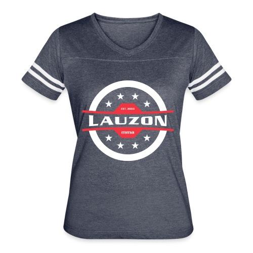 White on Black Lauzon MMA Logo w No Words - Women's Vintage Sports T-Shirt