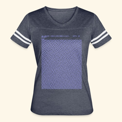 10 PRINT CHR$(205.5 RND(1)); : GOTO 10 - Women's Vintage Sport T-Shirt