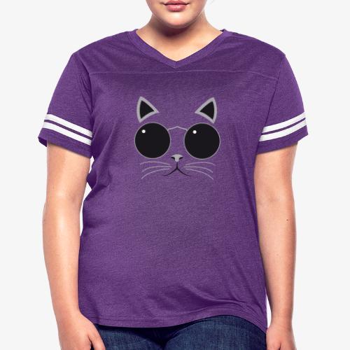 Hipster Cat T-Shirt - Women's Vintage Sport T-Shirt