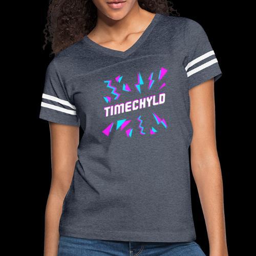 Timechyld Logo with Retro Pattern - Women's Vintage Sport T-Shirt