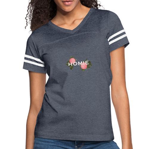 HOMIE WHT PNK ROSE - Women's Vintage Sports T-Shirt