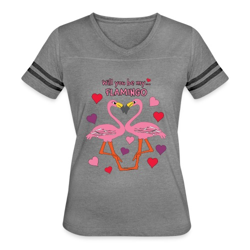 Will You be my Flamingo Valentine Kisses - Women's Vintage Sport T-Shirt