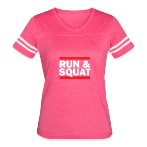 Run Squat White on Dark by Epic Greetings - Women's Vintage Sport T-Shirt