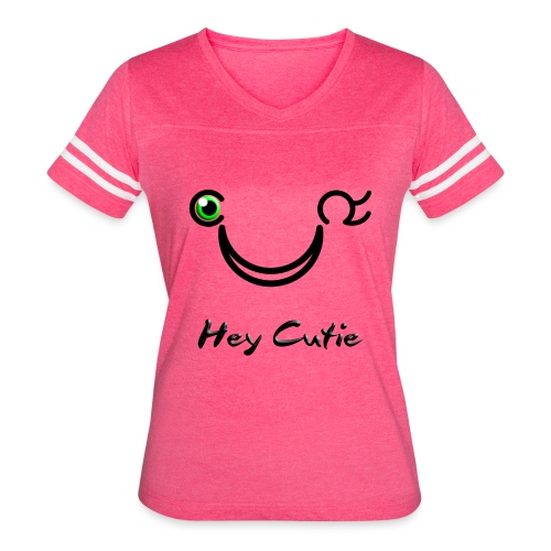 Hey Cutie Green Eye Wink - Women's Vintage Sport T-Shirt