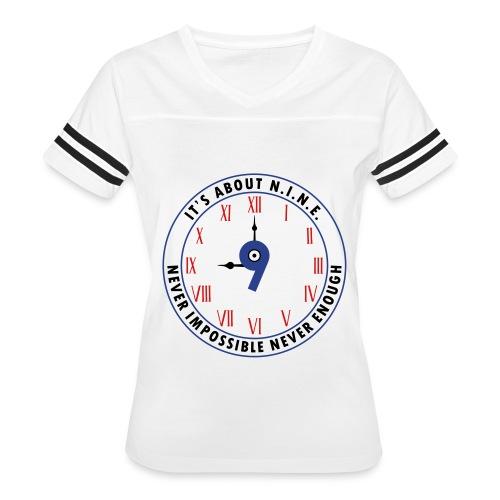 NINE Logo v2 2018 blue Outlines Red Numbers - Women's Vintage Sport T-Shirt