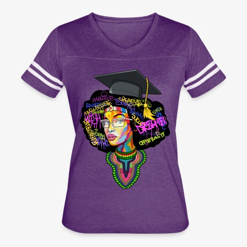 Black Educated Queen School - Women's Vintage Sport T-Shirt