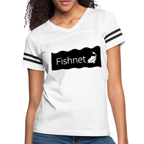 Fishnet (Black & White Wave) - Women's Vintage Sports T-Shirt