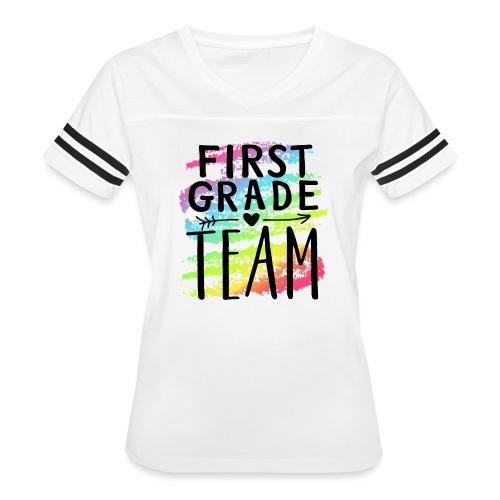 First Grade Team Crayon Splash Teacher T-Shirts - Women's Vintage Sport T-Shirt