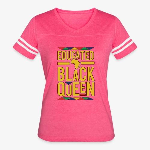 Dashiki Educated BLACK Queen - Women's Vintage Sport T-Shirt