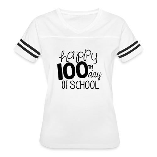 Happy 100th Day of School Chalk Teacher T-Shirt - Women's Vintage Sport T-Shirt