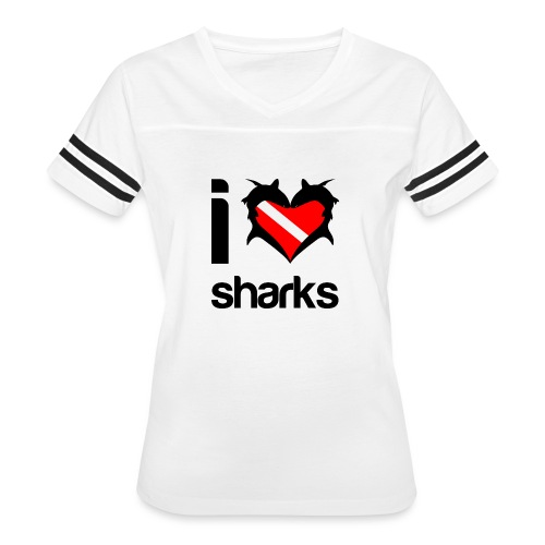 I Love Sharks - Women's Vintage Sport T-Shirt