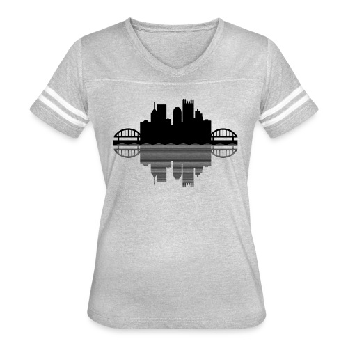 Pittsburgh Skyline Reflection (Black) - Women's Vintage Sport T-Shirt