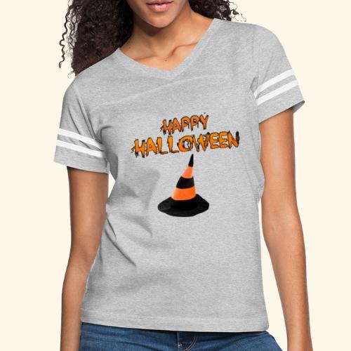 HAPPY HALLOWEEN WITCH HAT TEE - Women's Vintage Sport T-Shirt