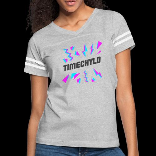 Timechyld Logo with Retro Pattern (Black) - Women's Vintage Sports T-Shirt