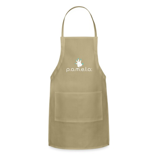 P.A.M.E.L.A. Logo White - Adjustable Apron