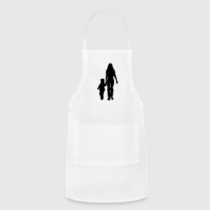 mom and son silhouettes - Adjustable Apron
