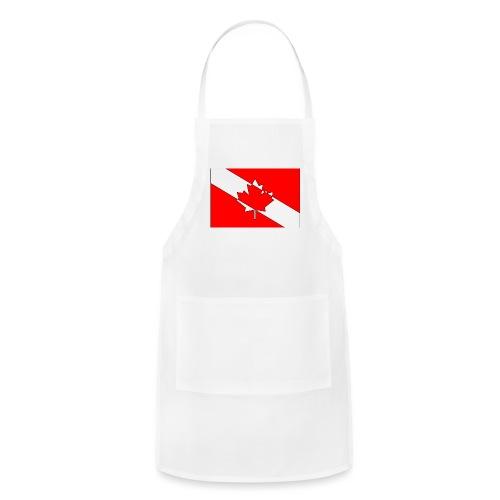 Canadian Diver Flag Red, White and Black Outline - Adjustable Apron