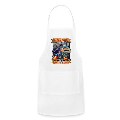 Speed Shop Hot Rod Muscle Car Cartoon Illustration - Adjustable Apron