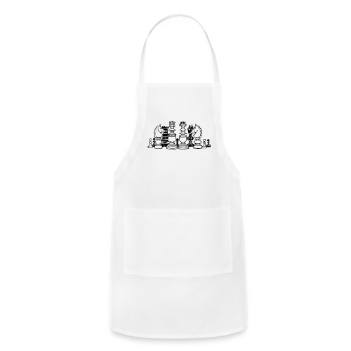 Black and white chess pieces - Adjustable Apron