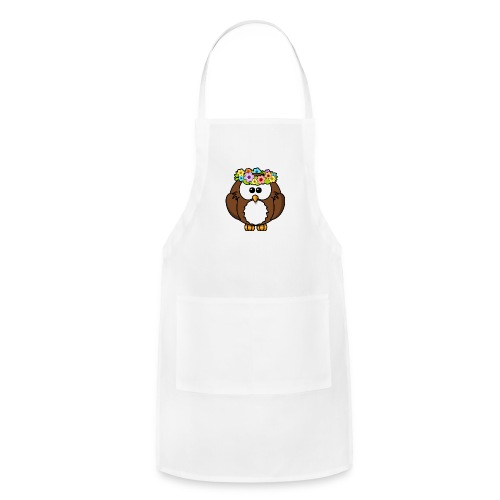 Owl With Flowers On Head T-Shirt - Adjustable Apron