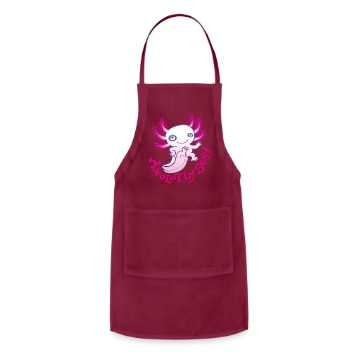 Cute funny axolotl posing, waving and smiling - Adjustable Apron