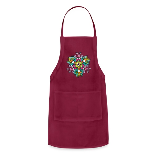 Doodle art in the form of crazy hungry monsters - Adjustable Apron