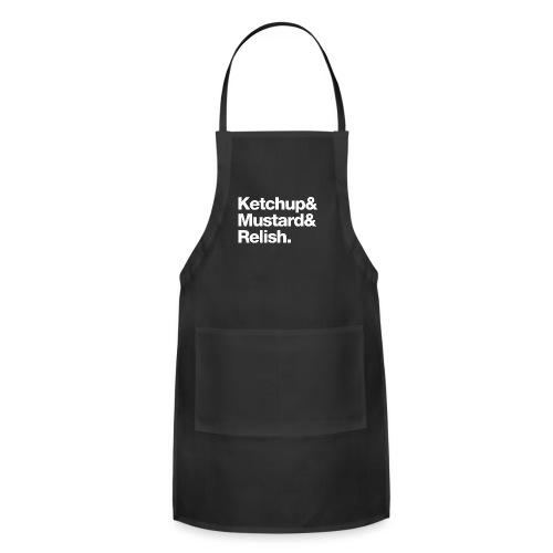 Ketchup & Mustard & Relish. (white text) - Adjustable Apron