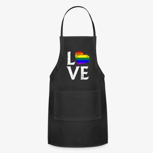 LGBTQ Pride Stacked Love - Adjustable Apron