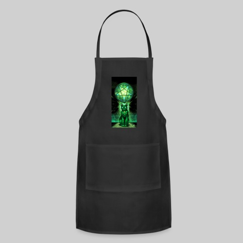 Green Satanic Cat and Pentagram Stained Glass - Adjustable Apron