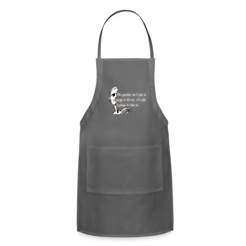 Stop me Ayn Rand on black background - Adjustable Apron