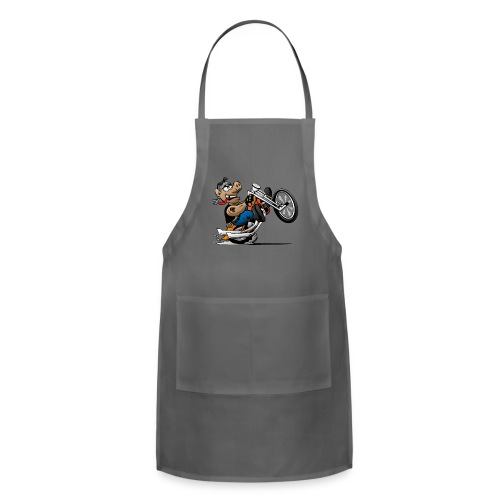 Biker Hog Motorcycle Cartoon - Adjustable Apron