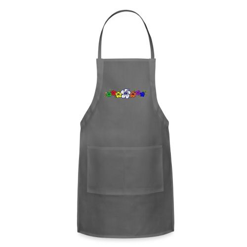 Colorful Hibiscus Flowers and Bamboo Shoot - Adjustable Apron